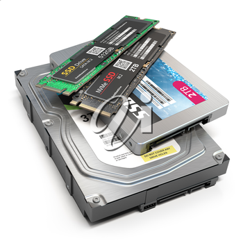 Set of different data storage devices. Hdd, ssd and ssd m2 isolated on white background. 3d illustration