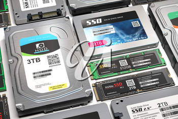 Background from different data storage devices. Hdd, ssd and ssd m2 iin a row. 3d illustration