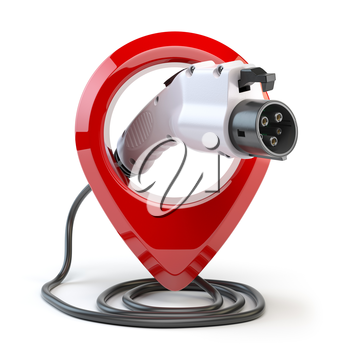 Electric car charging point location. Car charger power plug with pin isolated on white. 3d illustration