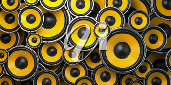 Acoustic sound speakers background. Yellow subwoofers of different size. Multimedia, audio and sound concept. 3d illustration