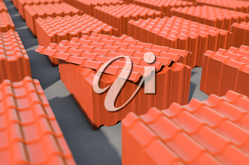 Stacks of red metal tile sheets in the warehouse for roof construction. 3d illustration