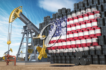 Oil production and extraction in USA. Oil pump jack and oil barrels with United States flag. 3d illustration