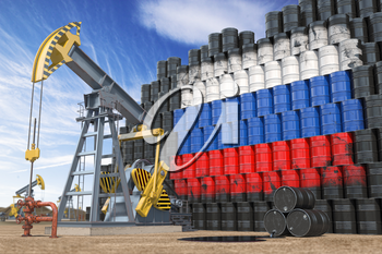 Oil production and extraction in Russia. Oil pump jack and oil barrels with Russia flag. 3d illustration