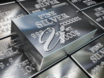 Silver bars or ingots background. Precious metal. 3d illustration