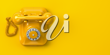 Vntage yellow telephone on yellow background. 3d illustration