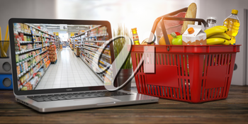 Shopping basket with food and laptop with shelf of supermarket  or grocery shop on the screen. Online ordering and delivery food concept. 3d illustration