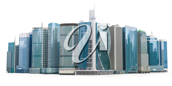 Skyscrapers of downtown. City skyline isolated on white background. Real estate, financie and commerce concept. 3d iluustration