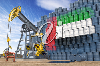 Oil production and extraction in UAE United Arab Emirates. Oil pump jack and oil barrels with flag of UAE. 3d illustration