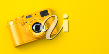 Yellow vintage photo camera on yellow background. 3d illustration