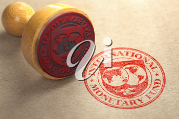 IMF International monetary fund tranche approved concept. Rubber stamp with sign of IMF. 3d illustration