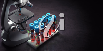 Blood test samples tubes and microscope on black background. Healthcare, medical laboratory concept. 3d illustration