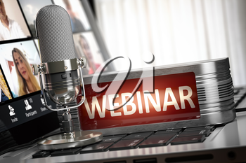 Webiinar concept. Microphone with sign webinar on laptop keyboard with conference app on the screen. 3d illustration