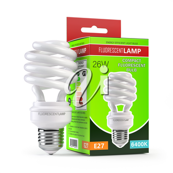 Spiral fluorescent lamp, energy saving light bulb with green box isolated on white. 3d illustration
