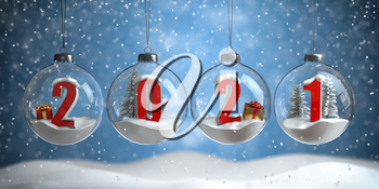 2021 Happy New Year. Numbers 2021 with cristmas trees, gifts and snow flakes in glass baubles or balls, New Years Eve  decoration.  3d illustration