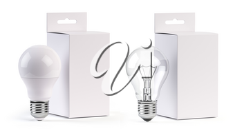 Electric light bulbs LED and incandescent with blank paper box isolated on white. Mock up 3d illustration