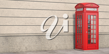 Red phone booth on brick wall background. London, british and english symbol. Space for text. 3d illustration