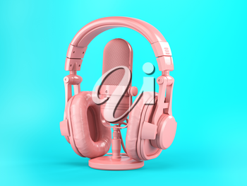 Pink retro haedphones and microphone on blue background. 3d illustration
