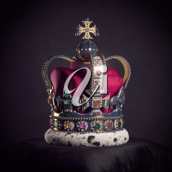 Royal golden crown with jewels on pillow on black background. Symbols of UK United Kingdom monarchy. 3d illustration