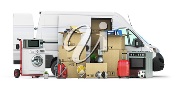 Delivery van full of household staff, boces and appliances. Moving to new house and family relocation concept. 3d illustration