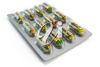 Multivitamins and dietary natural supplements for a healthy diet. Fruits in pills on blister pack. 3d illustration