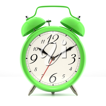 Alarm clock on white background with shadow. Vintage style green color clock with black hands.