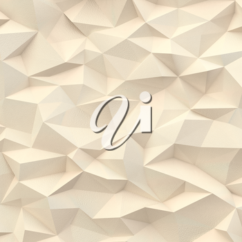 Abstract beige paper triangles background, 3d render illustration