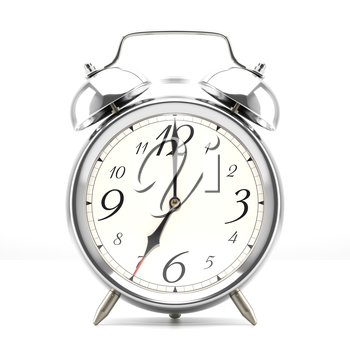 Ringing alarm clock. Silver table shelf vintage clock on white background. Deadline, wake up, time is up, act fast, sale reminder, hot prices concept.