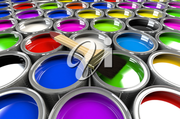 Multiple open paint cans with a brush. Rainbow colors. Creativity and diversity concept.