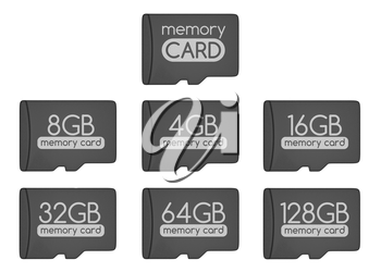 MicroSD memory cards set. Top view. Generic memory card and different capacity cards. Isolated on white. 3D illustration.