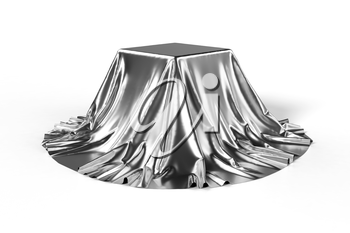 Box covered with silver fabric. Isolated on white background. Surprise, award, prize, presentation concept. Showroom stand. Reveal a hidden object. Raise the curtain. Photo realistic 3d illustration
