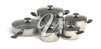 Stainless steel pots and pans on white background. Set of five cooking kitchenware with glass see through lids. 3D illustration.