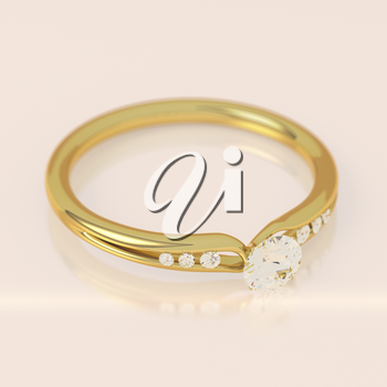 Diamond gold ring with one big and 6 small diamonds on soft pink background. Wedding or engagement ring. Beautiful fashion jewelry. Elegant advertisement template. Add your text. 3D illustration.