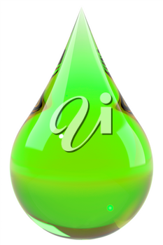 Green drop isolated on white. Save the Earth, ecology, eco fuel concept. Graphic design element for poster, flyer, packaging. 3D illustration