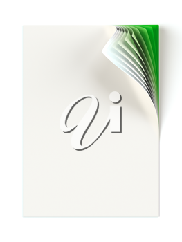 Blank document mock up with green monochrome curled corner. Graphic design element. Business corporate identity, advertisement, web page, poster with turning corner, colors and shadow. 3D illustration