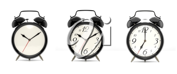 Set of 3 alarm clocks isolated on white background. Vintage style black clock with clean face, numbers and ringing clock. Graphic design element. Deadline, wake up, happy hour concept. 3D illustration