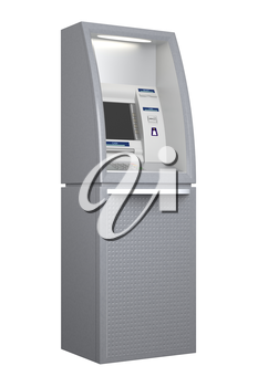 Atm machine isolated on white background, side view. Pin code safety, automatic banking, electronic cash withdrawal, bank account access concept. 3D illustration