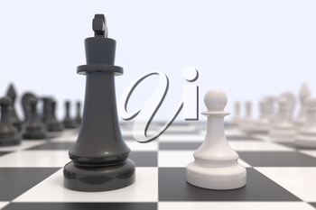 Two chess pieces on a chessboard. Black and white kings facing each other. Competition, discussion, agreement or opposition and confrontation concept.