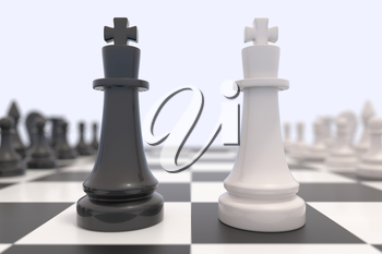 Two chess pieces on a chessboard. Black and white kings facing each other. Competition, discussion, agreement or opposition and confrontation concept. 3D illustration