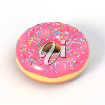 Delicious colorful donut with pink icing and sprinkles. Macro view of american dessert on white background. Graphic design element for bakery flyer, poster, advertisement, scrapbook. 3D illustration.