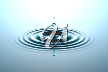 Water drop or rain drop falling on water surface. Liquid ripple splash in sunlight with reflection, macro image. Graphic design element for poster, package, flyer. Abstract background, 3D illustration