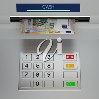 Atm machine keypad with euro banknotes in the money slot. Password security, online payment, cash withdrawal deposit, transfer funds, giving money returning bank debt concept. 3D illustration