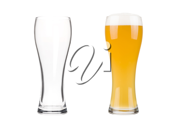 Two beer glasses isolated on white background. Mug filled with blond beer with bubbles and foam and an empty mug. Graphic design element for brewery ad, beer garden poster, flyers, printables.