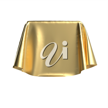 Box covered with golden fabric. Isolated on white background. Surprise, award, prize, presentation concept. Showroom stand. Reveal a hidden object. Raise the curtain. Photo realistic 3D illustration.