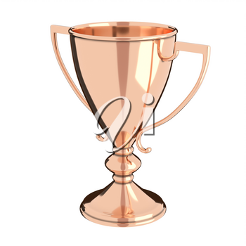 Rose gold or bronze trophy cup isolated on white background. Victory, best product, service or employee, first place concept. Achievement in sports. Isolated on white background.