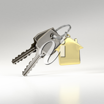 Two keys on a ring with a green plastic house chain. Concept of buying or renting a house, new home. Photo-realistic. 3D illustration.
