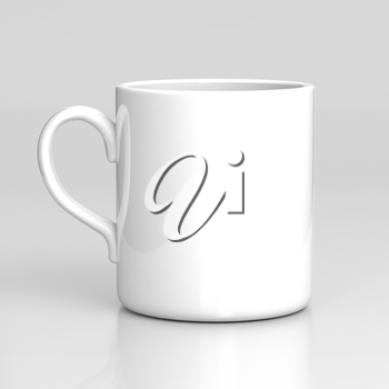 White coffee mug on gray background. Black template.