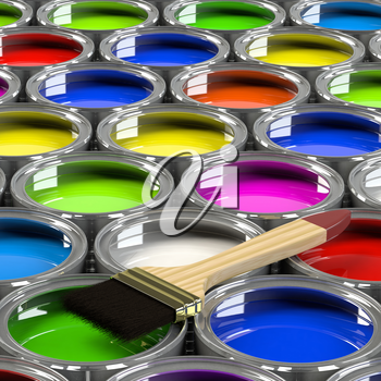 Multiple open paint cans with a brush. Rainbow colors. Creativity and diversity concept. 3d illustration.