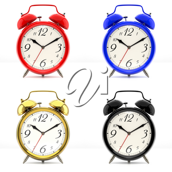 Set of 4 alarm clocks isolated on white background. Vintage style red, blue, black, golden clock. Graphic design element for flyer, poster, sale. 3D illustration