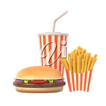 Fast food set isolated on white background with shadow. Hamburger, french fries, cola in generic striped package. Graphic design element for restaurant advertisement, menu, poster. 3D illustration