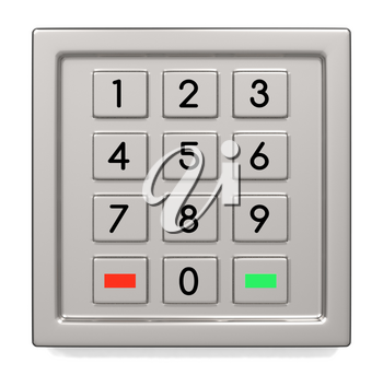 Atm machine keypad with numbers and green and red button. Pin code safety, banking, electronic cash withdrawal, bank account access concept. 3D illustration